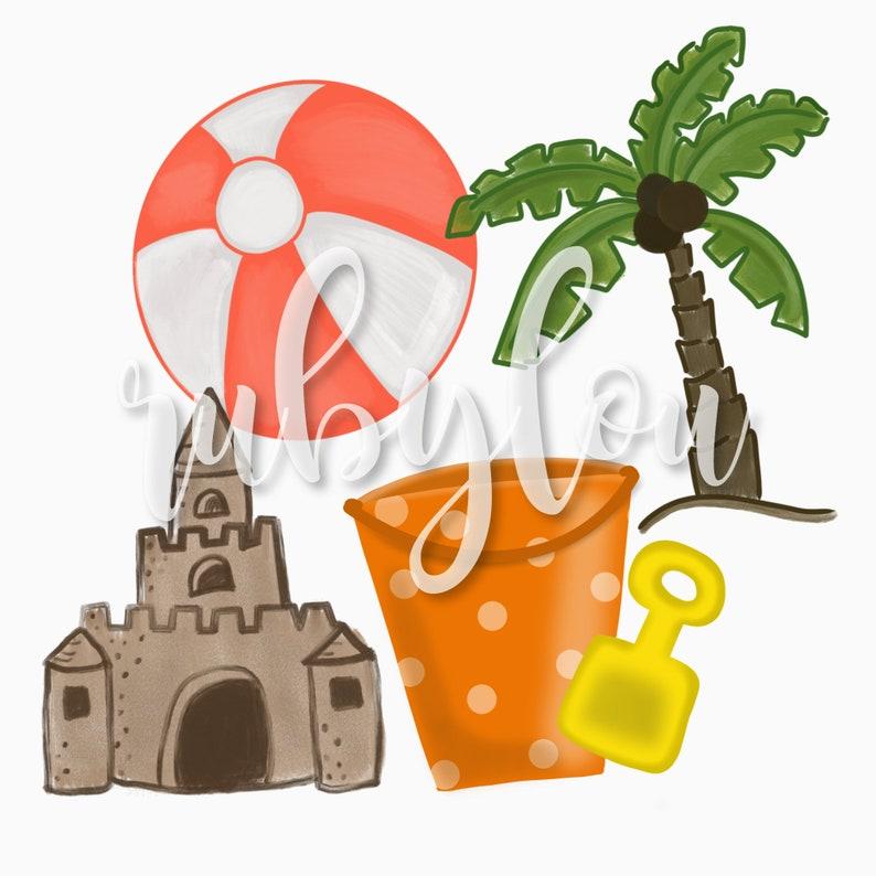 PNG BEACH BUNDLE | sandcastle beach ball palm tree digital download ||  Sublimation || Printable Artwork Digital File