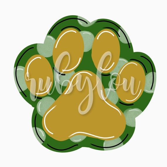 Cute Hand Drawn Paw Print Green Gold Sublimation Design Etsy Paw print png cliparts, all these png images has no background, free & unlimited downloads. etsy