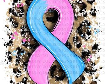 Leopard Pink & Blue Awareness Ribbon | Pregnancy Infant loss | digital download || Sublimation || PNG I Printable Art I Digital File