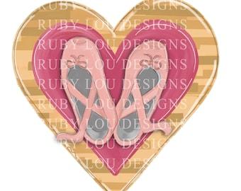 DOLLAR DEAL Ballet Heart | Dance dancer ballerina ballet shoes  | Sublimation digital download | hand drawn Printable Artwork I Digital File