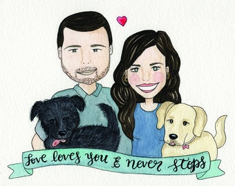 Customized  family portrait, watercolor family portrait, family portrait, pet portrait, wedding portrait, wedding gift, digital portrait