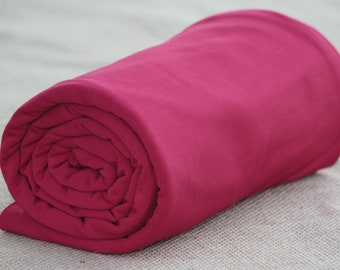 Fleece-Back Polyester Spandex, Raspberry