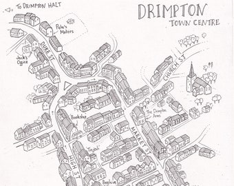 A4 Customised Event and Festival Map //Town and City Map Illustration // Personalised Street Map
