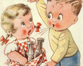 Coo! You Ought To Seen Ours! ~ Children Kids Postcards by Artist KIT FORRES. ~ #7019 ~ Unposted ~ 1946