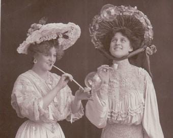 Miss Marie Studholme & Miss Zena Dare Actress Singer Postcard Portrait. Glossy Postcard Posted ~ 1905