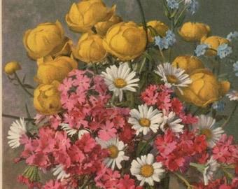 A Vase Full Of Flowers ~  Coloured Vintage Postcard.