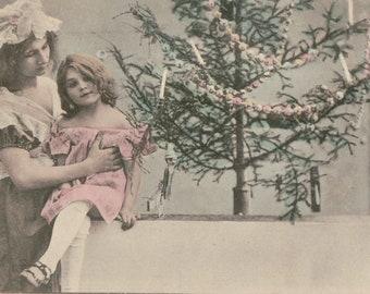 Blank Christmas Postcard ~  Coloured Vintage Postcard. Nederland Stamp 1958