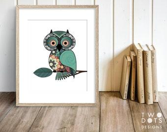 8x10 Printable Owl Wall Decor, Nursery Decor, Owl Printable, Floral Print
