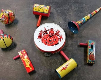 Lot of 8 Vintage Tin Lithograph Noise Makers-New Years and Halloween
