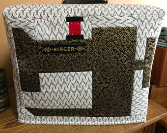 Singer Featherweight Sewing Machine Case Cover with Pieced Front Pattern Directions Vintage Sewing Quilting Piecing