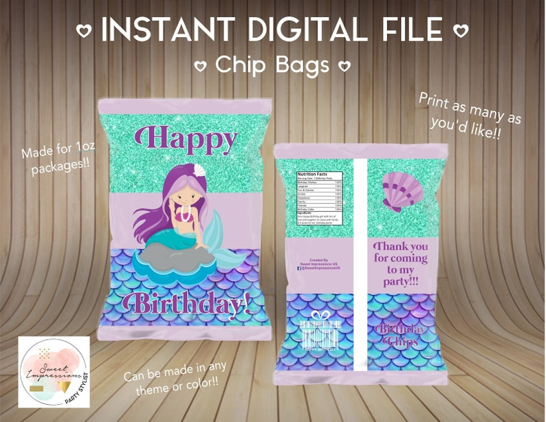 Instant Download Mermaid Party Chip Bags Digital File Birthday Treats NOT PERSONALIZED