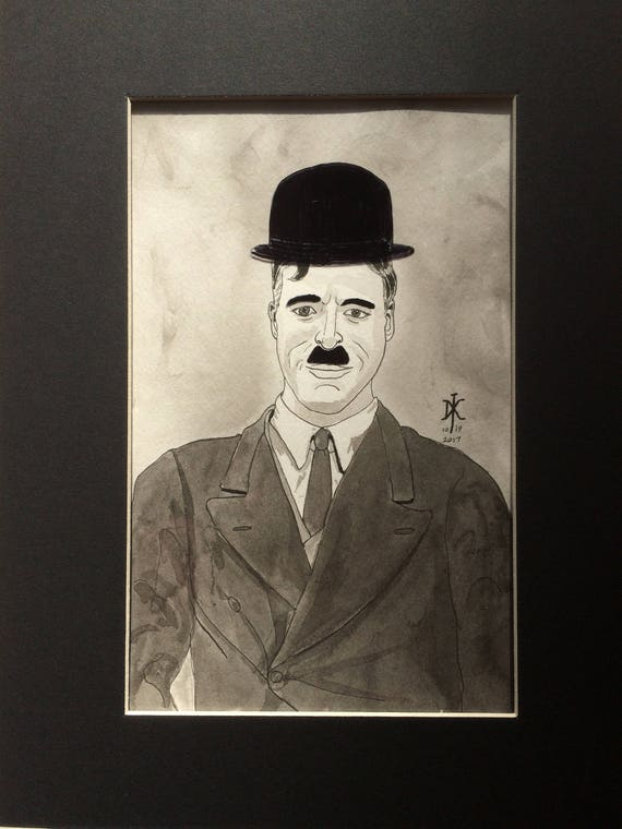 original drawing charlie chaplin with and without hat and. Black Bedroom Furniture Sets. Home Design Ideas