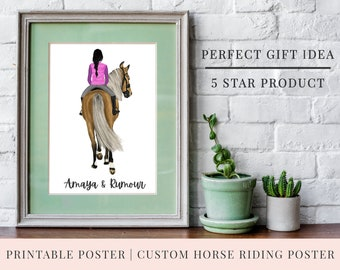 Christmas Gift | QUICK TURNAROUND | Print @ Home | Personalised Printable Horse Riding Poster | 3 Sizes |  Christmas | Customise Poster