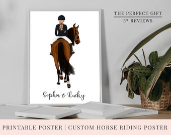 Christmas Gift | PRINT @ HOME | Personalised Printable Professional Show Jumping Horse Riding Poster | 3 Sizes |  Horse | Customise Poster