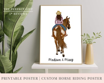 Christmas Gift | PRINT @ HOME | Personalised Printable Cowboy / Cowgirl Horse Riding Poster | 3 Sizes |  Horse |Customise Poster