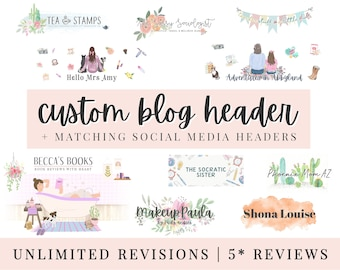 CUSTOM BLOG HEADER | Fully Custom | Blogger | Wordpress | Facebook | Twitter | Blogspot | Bespoke Header | ooak Header | 5* Reviews!