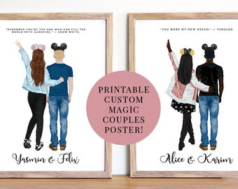 PRINT @ HOME | Custom Magic Mouse Ear Couple Printable Poster | Fairytale |  3 Sizes | Sparkle | Perfect Valentines Gift!