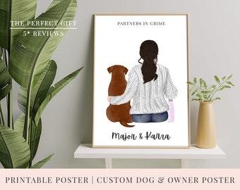 PRINT @ HOME | Custom Printable Dog & Girl Poster | 3 Sizes | Pet Poster | Choose: Dog Breed, Hair, Jumper, Skin Tone and Backpack!