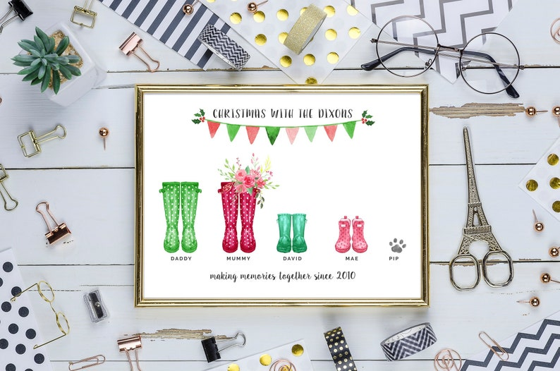 CHRISTMAS Personalised Printable Family Wellies Poster  4 image 0