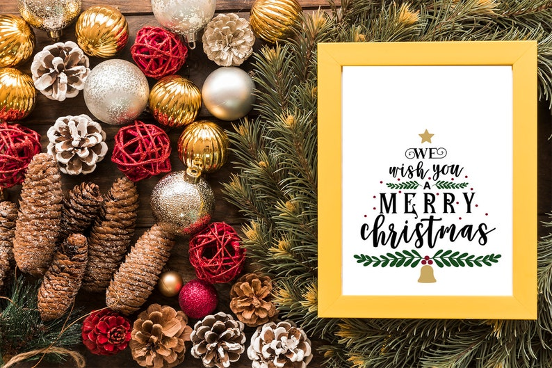 A4 and A5 Printable Farmhouse Merry Christmas Poster  2 Sizes image 0