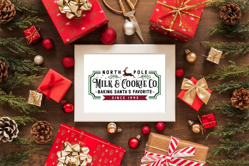 A4 and A5 Printable Farmhouse Christmas Milk & Cookie Co image 0