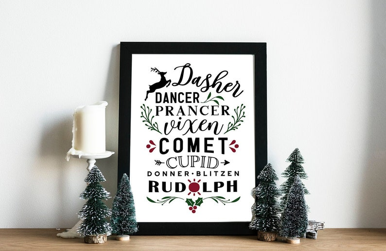 A4 and A5 Printable Farmhouse Christmas Reindeer Poster  2 image 0