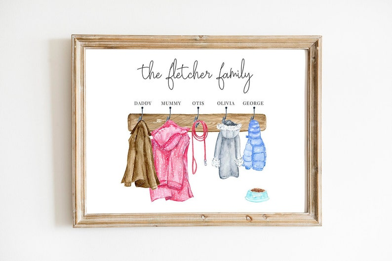 Personalised Digital Printable Family Coats & Wellies Poster  image 0