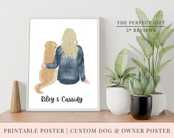PRINT @ HOME | Boy OR Girl with Dog Custom Printable Poster | 3 Sizes | Pet Poster | Dog Breed, Hair, Jumper, Skin Tone, Backpack & flask!