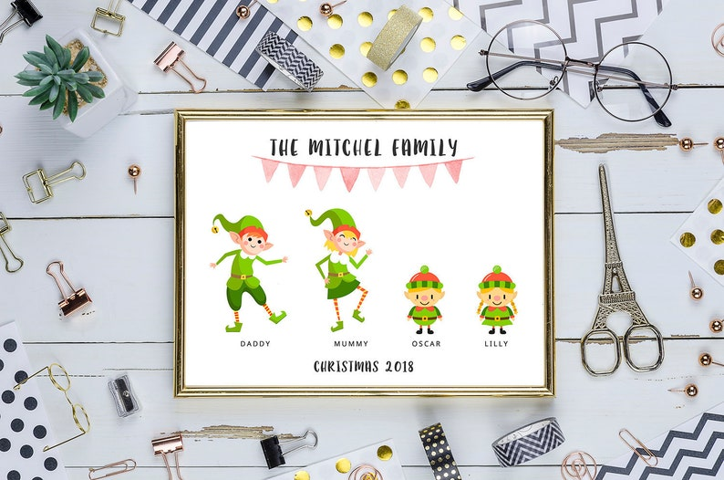 Personalised Digital Printable Family Of Elves Poster  4 image 0