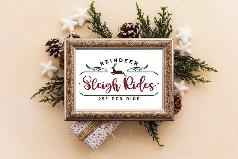 A4 and A5 Printable Farmhouse Christmas Sleigh Rides Poster  image 0