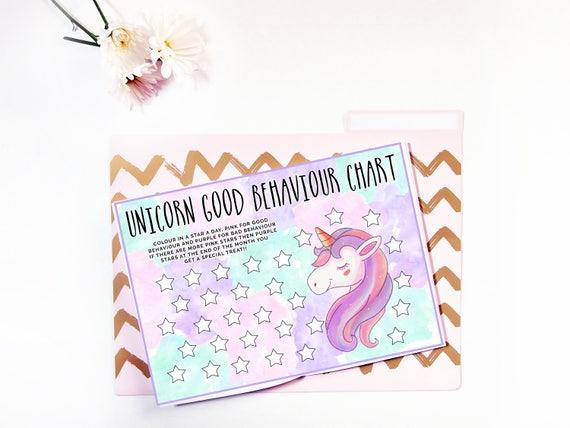 A4 Unicorn Good Behaviour Star Chart Monthly Behaviour Etsy