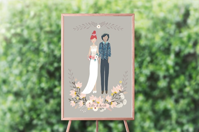 Fully Customisable Wedding Couple Poster  87 DIFFERENT image 0