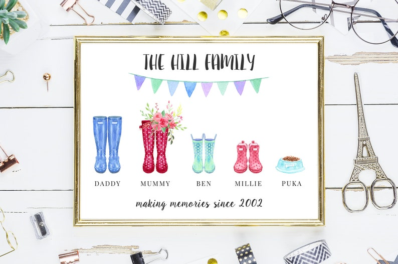 Personalised Digital Printable Family Wellies Poster  4 Sizes image 0