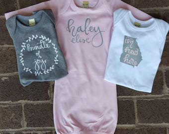 New Baby Onesie Gowns Bundle- Baby Name Onesie--I'm New Here State Onesie-Bundle of Joy Onesie- Baby Shower Gift - Bringing Home Outfit