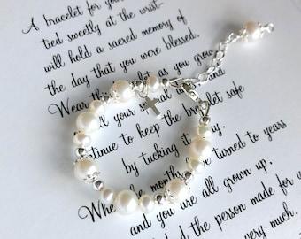 Baptism Gift Girl-Christening Gifts for Girls-Girl Baptism Gift-Baptism Bracelet for Girl-Goddaughter Gifts-Baptism to Wedding BraceletBW001