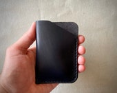 Minimalist wallet, Fathers day gift, edc, leather card holder, credit card holder, slim leather wallet, slim wallet, French leather, Black