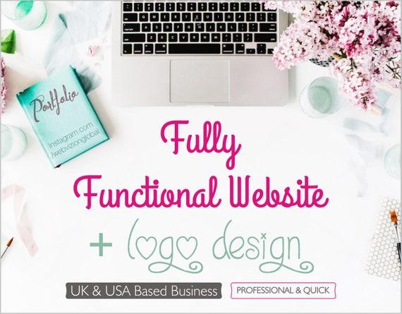 Full Website and Branding Package  Custom logo Website Design  Business Logo and Website  Custom Blog Design  logo Design Custom
