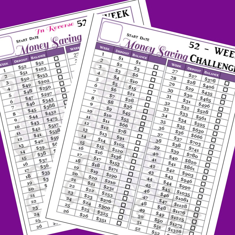 photo regarding 52 Week Money Challenge Printable known as 52 7 days Price savings Situation Printable - Content Planner Dimensions - 7 x 9.25