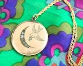 Large Bird Locket Necklace - Moon Locket - Crescent Locket - Engraved Locket - 1900s Locket - Gold Filled Locket - Wedding Locket