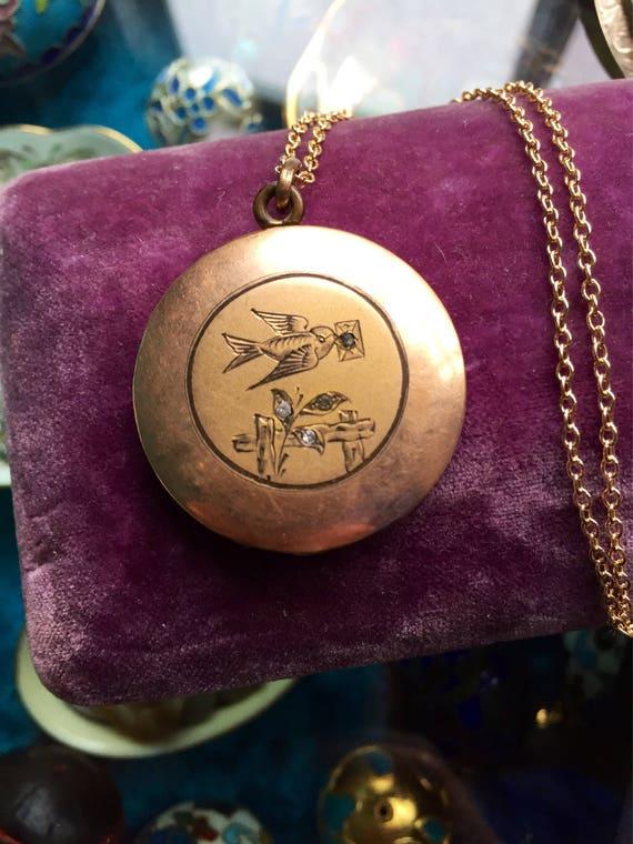 Bird Locket Necklace - Bird Letter Locket - Engrav