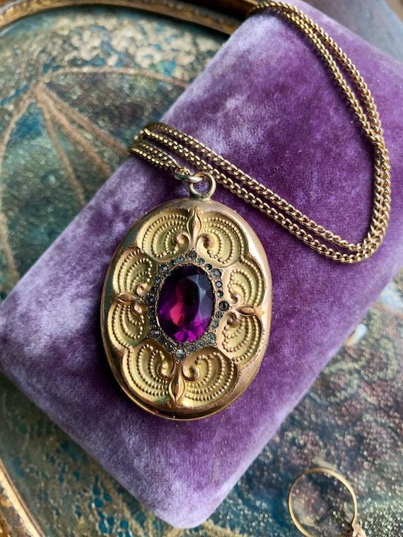 Antique Purple Paste Locket Necklace - Art Nouveau
