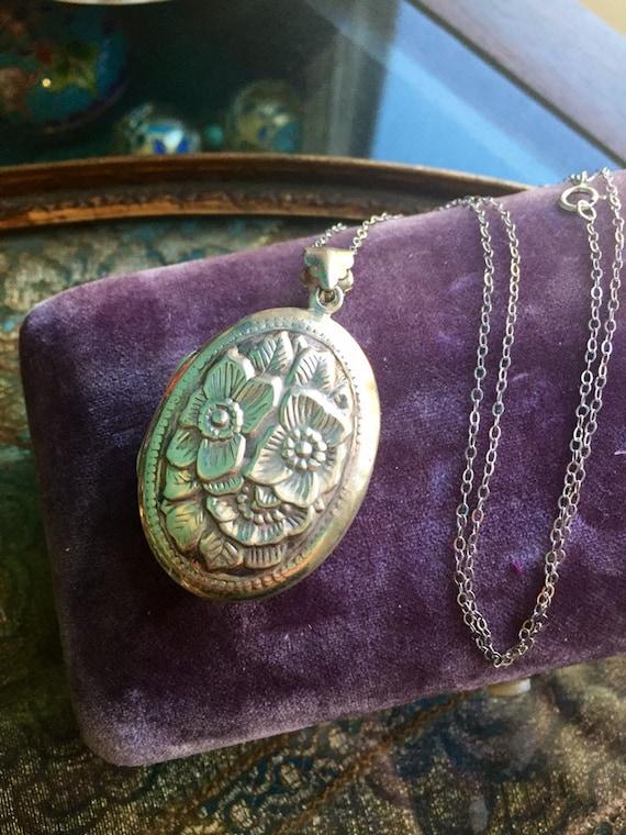 Flower Locket Necklace - Repousse Locket - Sterlin