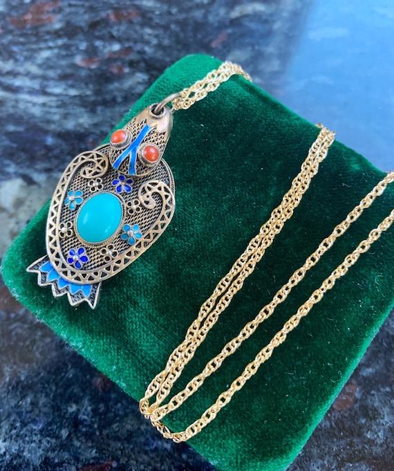 Enamel Bird Locket - Turquoise Locket - Chinese Lo