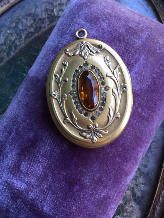 Large Antique Citrine Glass Locket Necklace - Art