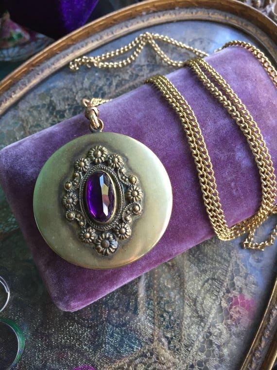 Huge Antique Purple Paste Locket Necklace - Art No