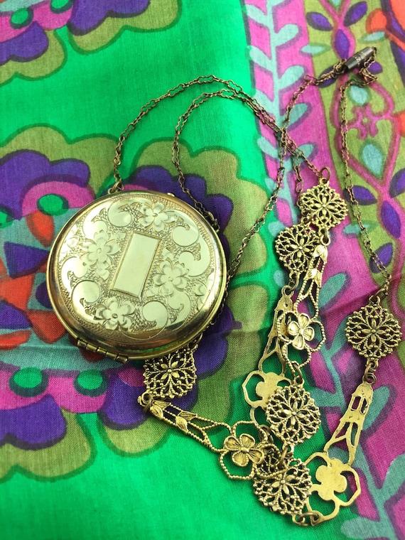 Engraved Flower Locket Necklace - Filigree Chain -