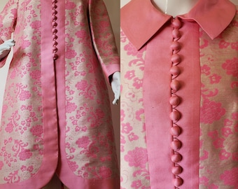 1970b399acf Vintage 1950's Merit's Fashions Silk Brocade Jacket / Duster with Covered  Buttons Silk Lining Tailor Made in Hong Kong L/XL