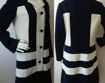24a59cd43b801d Summer Sale Vintage 1960's Mod Navy Blue and White Lilli Ann for Lilli Ann  Knits Size L