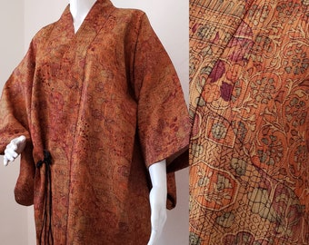 SUMMER SALE Vintage Japanese Haori 1970's Pleated Pin Tucked Raw Silk Kimomo Size L/Xl