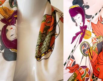 Vintage 1960's Silk Screened Asian Scarf